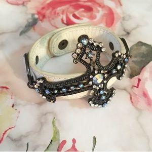 Faux Leather Iridescent Rhinestone Cross Bracelet